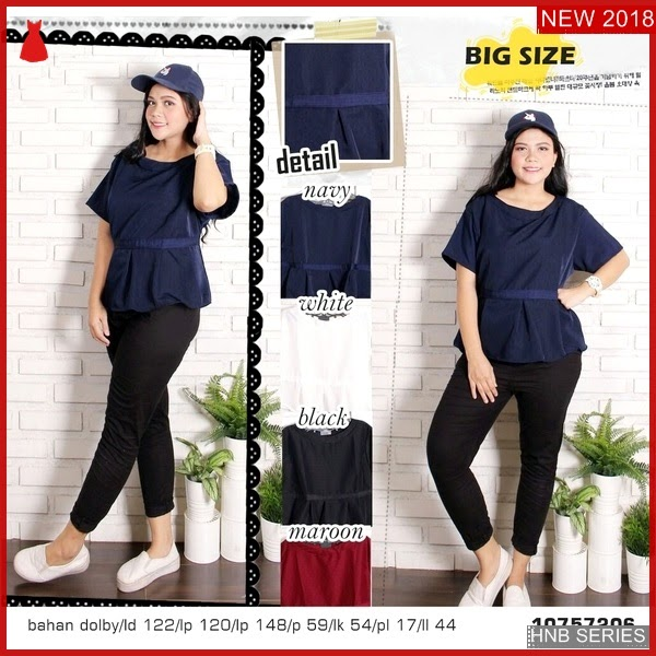 HNB211 Model Baju Ukuran Besar Jumbo Cross Blouse BMG Shop