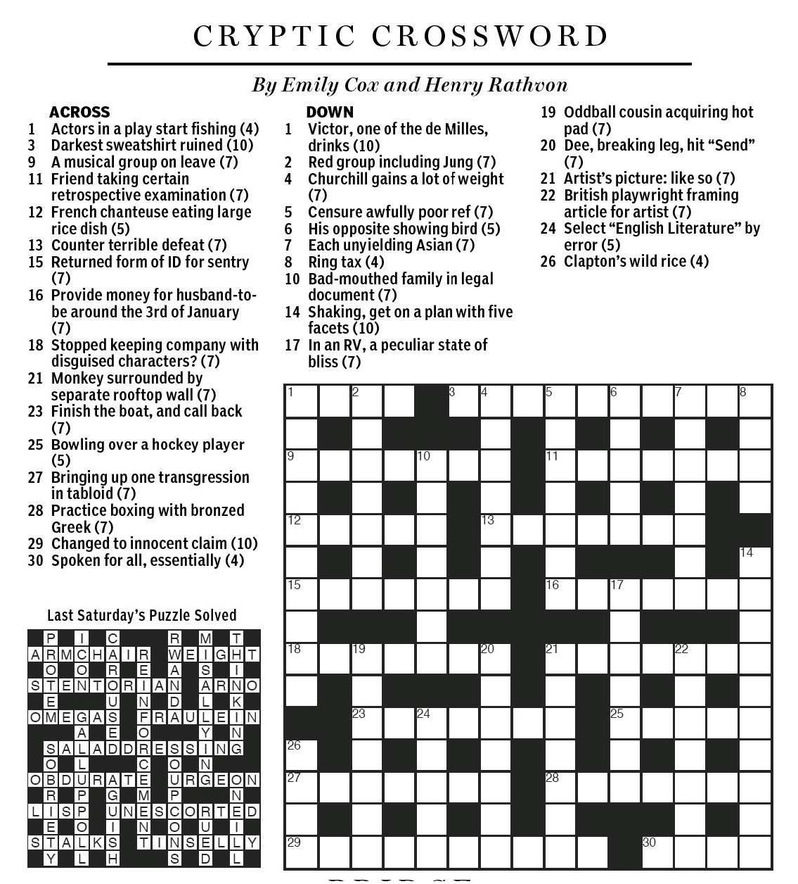 National Post Cryptic Crossword Forum Saturday December
