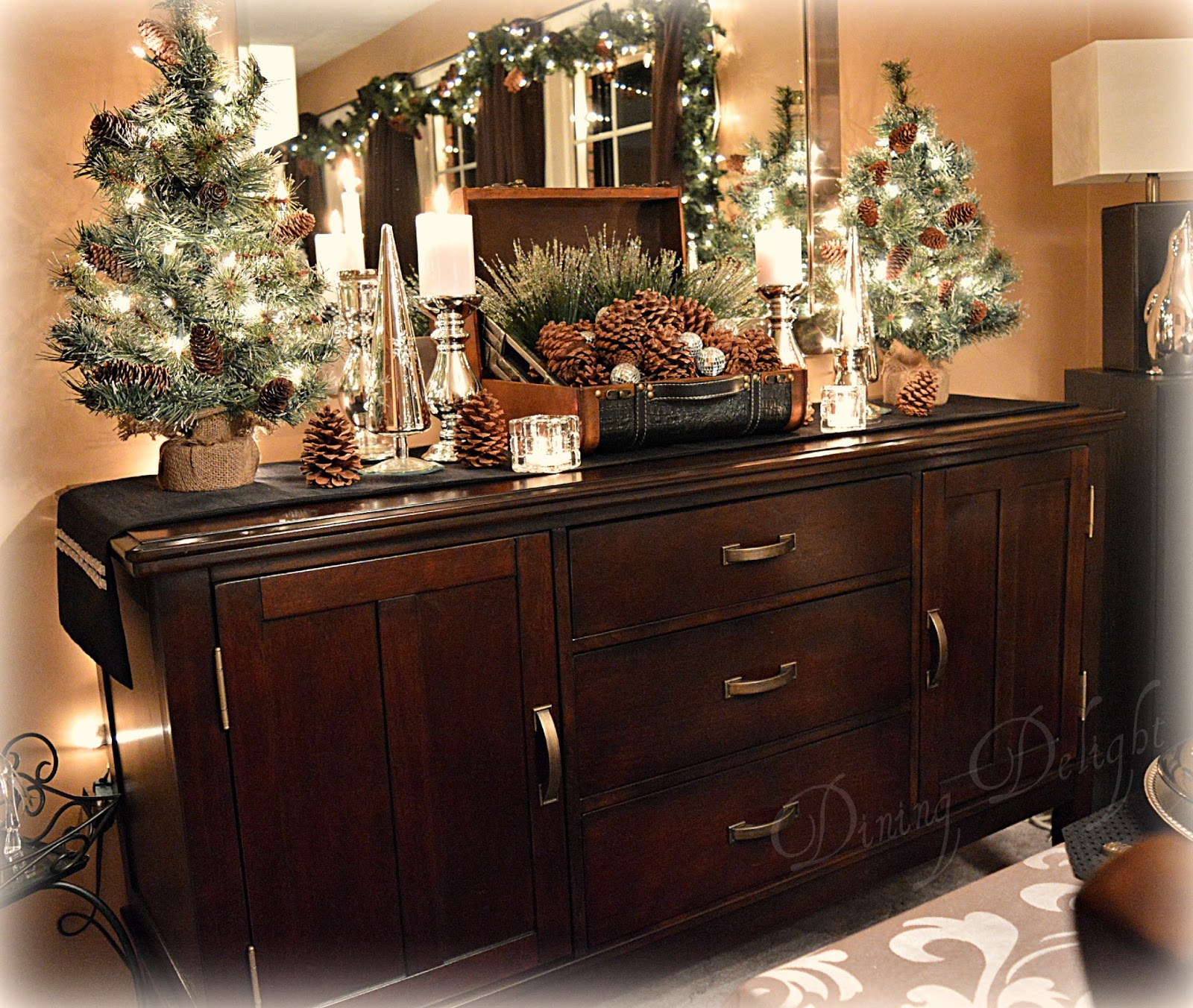 Dining Delight: Pine Cones & Candles For Christmas