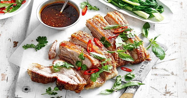 Pork Belly With Coconut Rice And Asian Greens Recipe