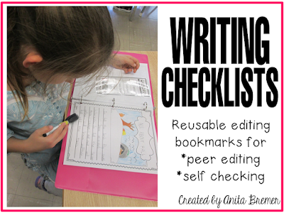 Writing Checklists: Reusable editing bookmarks for peer editing and self checking.