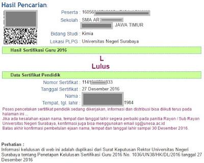 nomor sertifikat peserta plpg di unesa surabaya