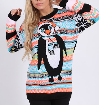 Penguin sweater. Aztec print. Neon blue and orange. 25 dollars at Ugly Christmas Sweater Sale. No Kicking Penguins and other penguin stories. marchmatron.com