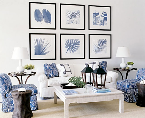 blue and white gallery wall living room