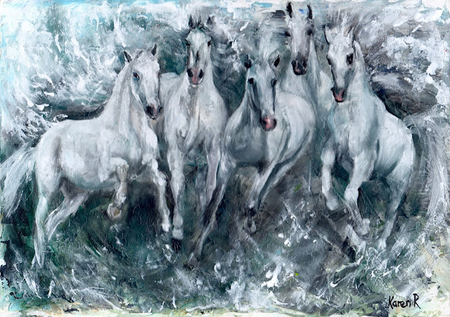 an oil painting of white horses galloping in the sea and emerging from the waves. Inspired by the myth of Poseidon