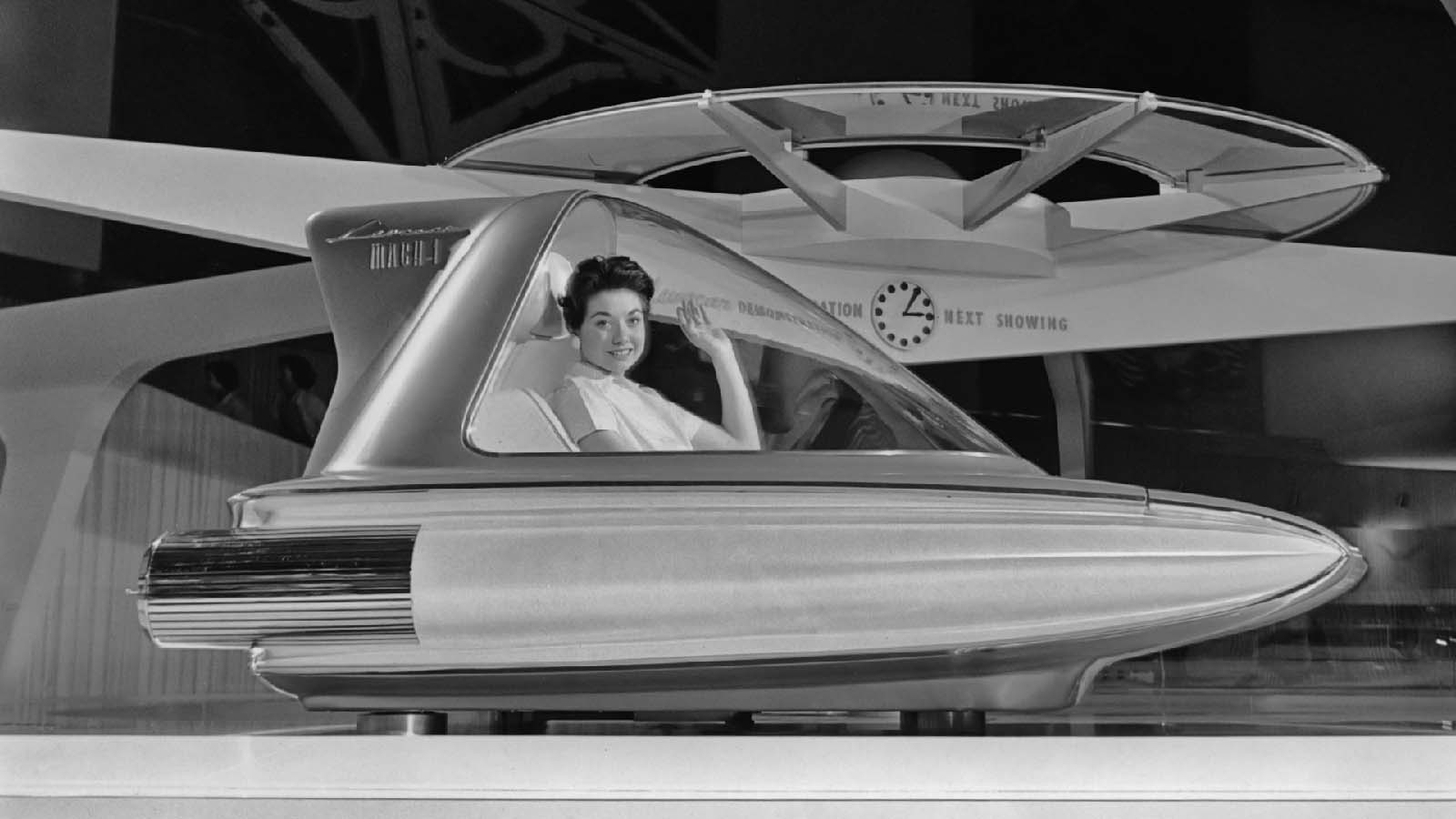 Where the Ford Mach I Levacar is going, it doesn't need roads. Shown at the Ford Rotunda in Dearborn, Michigan, 1959, the single-seat concept car scrapped wheels and touted a top speed of 500 m.p.h. None of the cars were ever built, much to society's dismay.