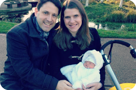 Jo Swinson and Duncan Hames MP with their baby son, Andrew