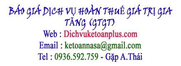 báo giá dịch vụ hoàn thuế giá trị gia tăng GTGT