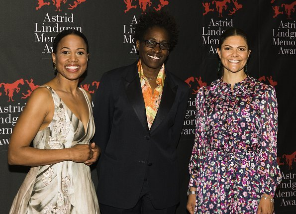 Crown Princess Victoria wore &Other Stories Floral Print Maxi Dress and By Malene Birger Paxilow pumps. American author Jacqueline Woodson