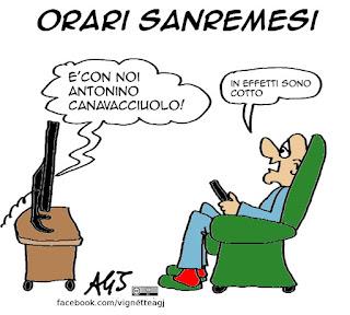 Sanremo, orario, canavacciuolo, televisione, spettacolo, satira vignetta