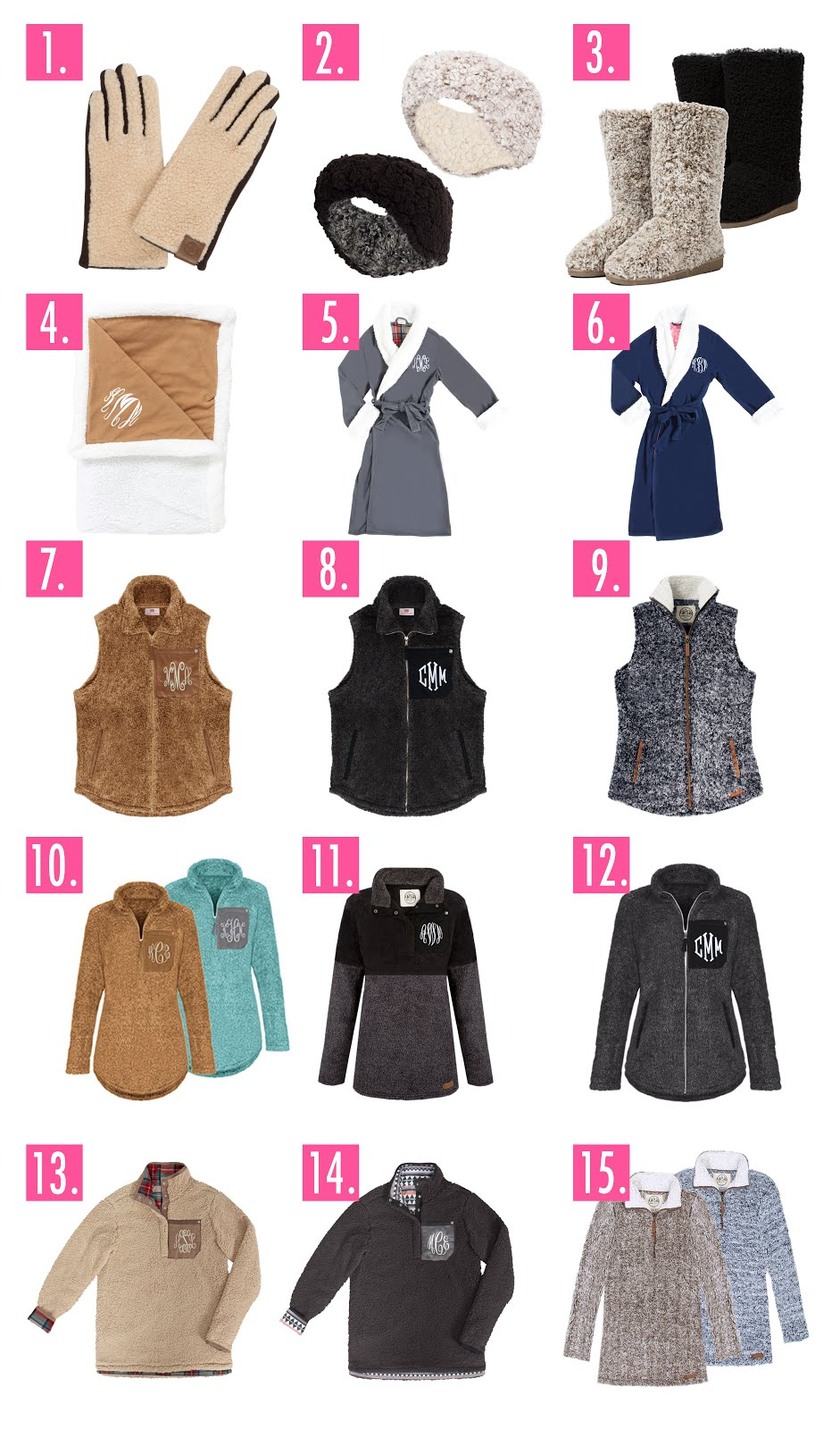 monogrammed sherpa clothing and accessories