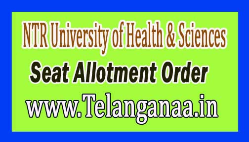 NTR University of Health & Sciences (NTRUHS)B.Sc Nursing, BPT & B.Sc MLT Seat Allotment Order 2016