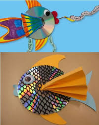 old cd art for school kids project, simple fish art using waste cd rom