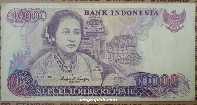 Gambar Depan Uang Kuno 10000 Rupiah Kertas Tahun 1985