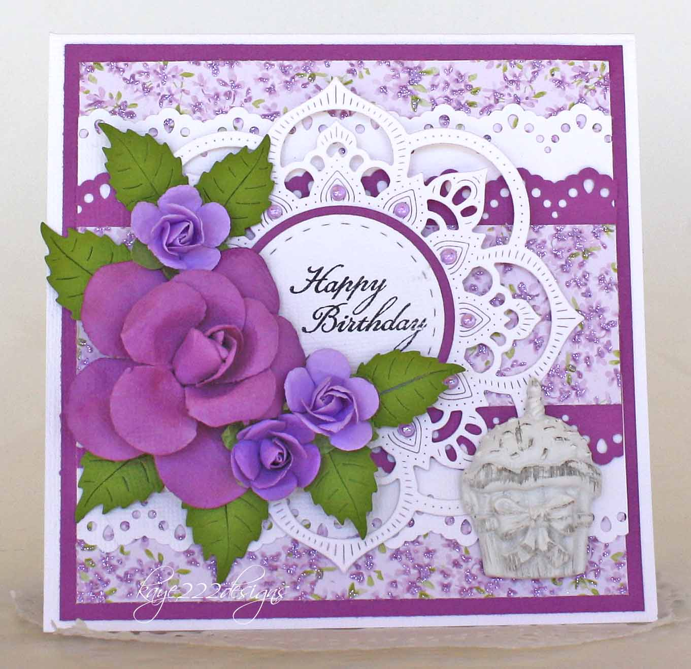 Beyond beauty happy birthday i was looking back on cards that i have made in the past and i realize that almost a year ago i made a similar card with the doily purple and flowers bookmarktalkfo Images