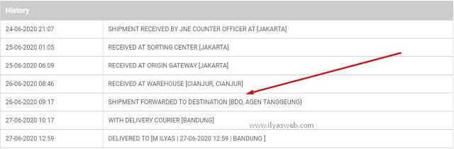 Shipment Forwarded to Destination