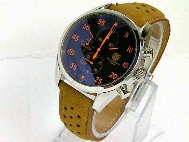 Jam TaG Heuer Space X Leather Silver Jarum Orange