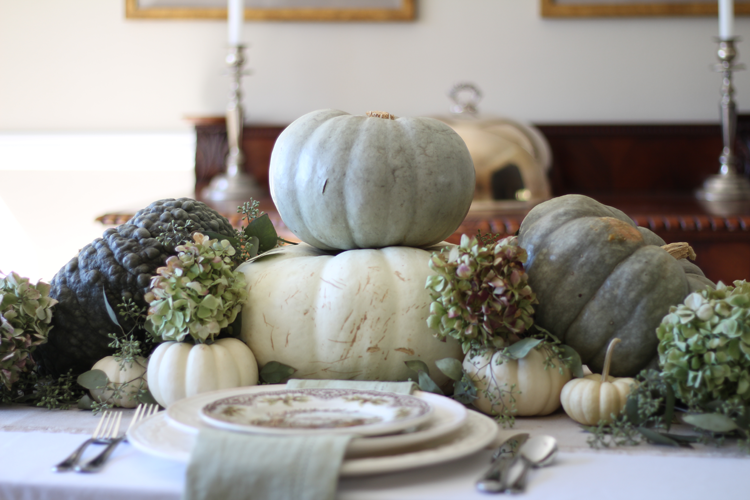 neutral fall tablescape with greens and creams