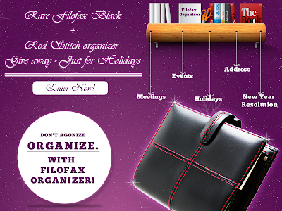 Rare Filofax Black+Red Stitch organizer give away - Just for Holidays