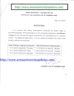 Anna University Revised New Schedule For 12,13 &14th Nov 2015 Postponed exams