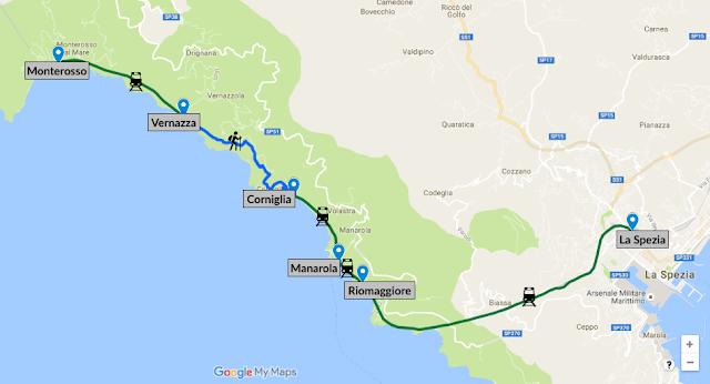 Les Cinque Terre en 1 jour : carte et itinéraire