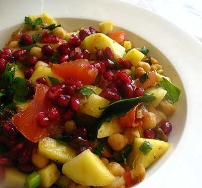 chickpea chat masala salad with mango and pomegranate seeds