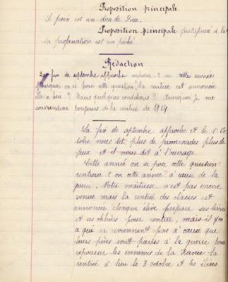 Cahier spécial de devoirs mensuels Le Calligraphe Librairie D. Nourry M. Guignard Successeur Autun, élève Berthe L., 13 ans, cours moyen 2ième année, école privée de Toulon-sur-Arroux, 1915 (collection musée)