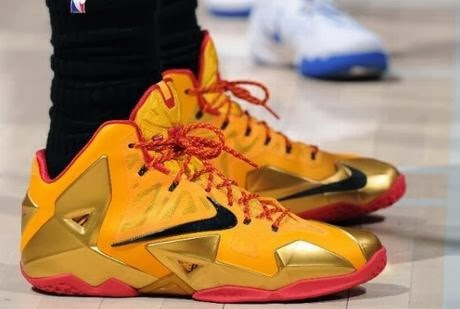 91161f1f39d84 Here is a look at Lebron James Wearing his Nike Lebron 11 XI Fairfax PE  Sneakers last night against the Clippers
