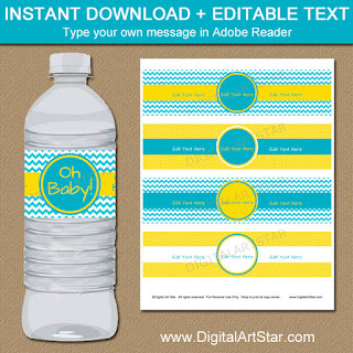 turquoise and yellow water bottle labels for baby shower, birthday, or bridal shower