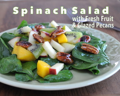 Spinach Salad with Fruity Vinaigrette, Fresh Fruit & Maple-Glazed Pecans ♥ KitchenParade.com, a big dinner salad, fresh and green with a rainbow of fruit and g-o-r-g-e-o-u-s Maple-Glazed Pecans, all lightly dressed in a Fruity Vinaigrette.