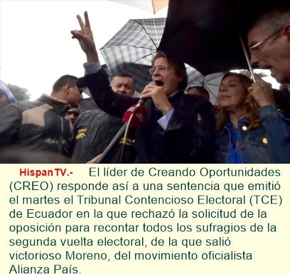 Lasso asegura: No reconoceré 'jamás' a Moreno como presidente