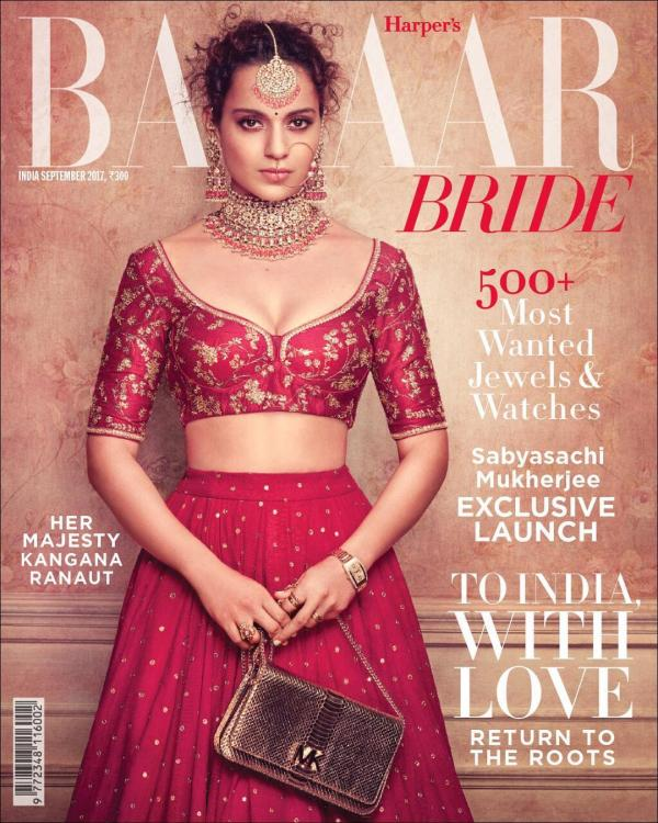 Kangana Ranaut On The Cover of Bazaar Bride Magazine India September 2017