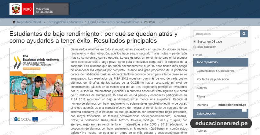 PISA - ESTUDIANTES DE BAJO RENDIMIENTO: Por qué se quedan atrás y como ayudarles a tener éxito [Resultados Principales] DESCARGAR .PDF - www.minedu.gob.pe