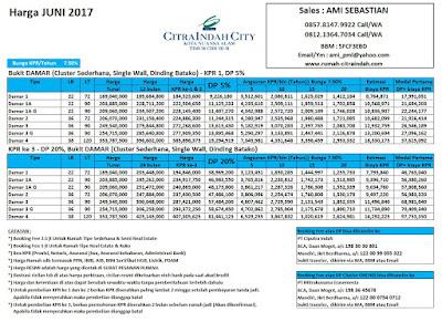 Harga Bukit Damar Citra Indah City JUNI 2017