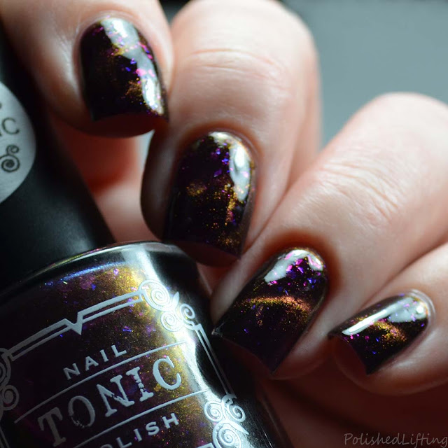 cat eye plum orange magnetic nail polish