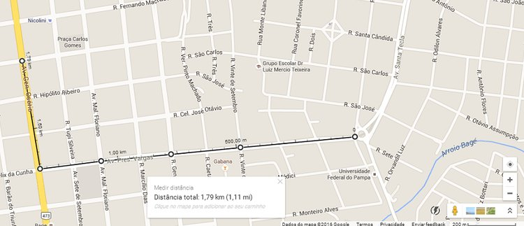 medir calcular distância trajeto pontos