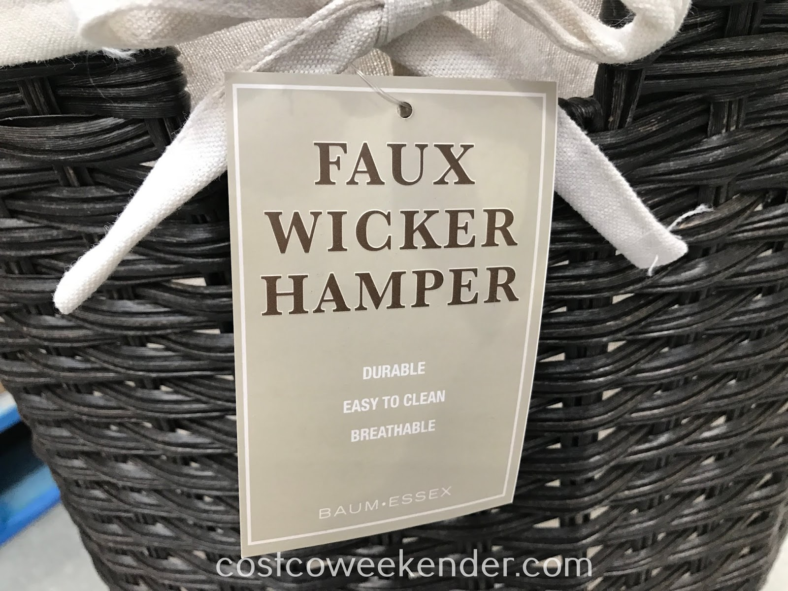 Costco 1230412 - Laundry doesn't have to be unsightly with the Baum Faux Wicker Hamper