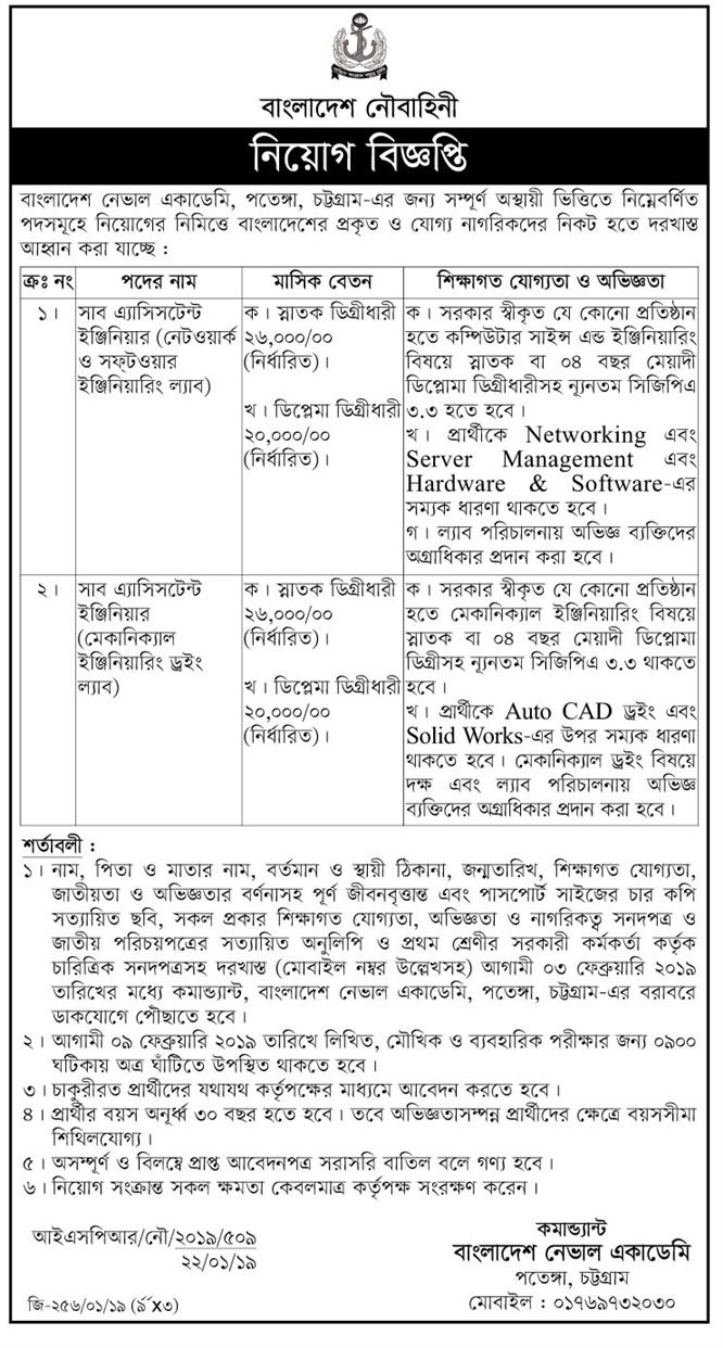 Bangladesh Naval Academy, Chittagong Job Circular 2019