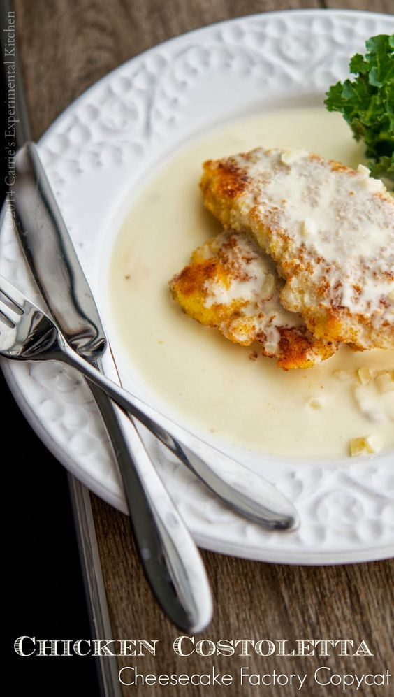 Enjoy one of your favorite restaurant meals at home with this copycat version of The Cheesecake Factory's Chicken Costoletta. Boneless chicken lightly breaded in a Panko and lemon crust, fried; then topped with a lemony cream sauce