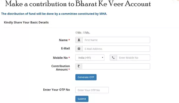 Steps to Donate via Bharat ke Veer Official  Website