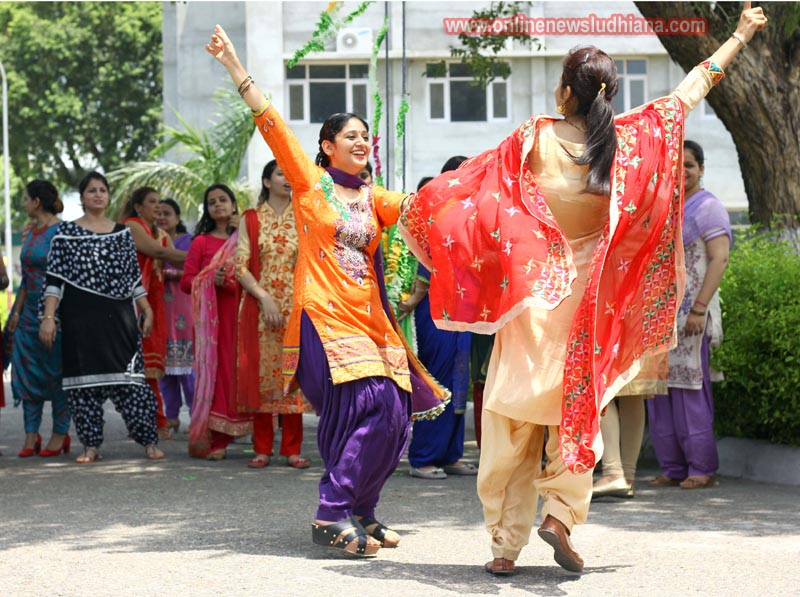 Students perform Giddha during Teej celebrations at LCET