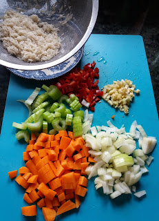 peeled and sliced vegetables