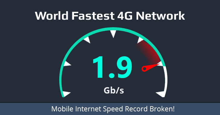 Record-breaking 1.9 Gbps Internet Speed achieved over 4G Mobile Connection
