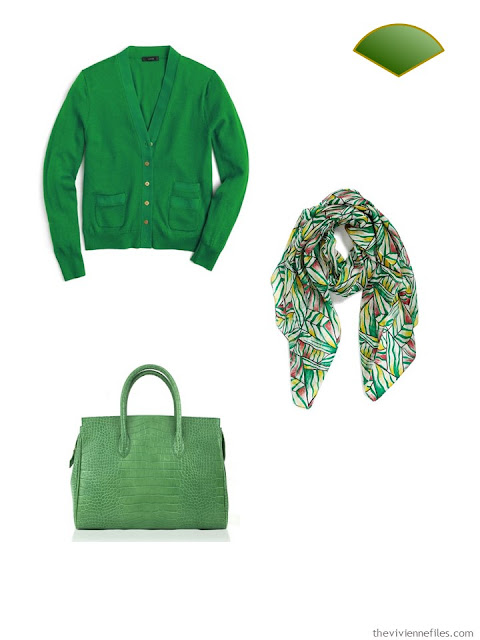 Wardrobe accents of bright green - cardigan, scarf and bag