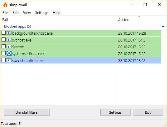 SimpleWall - Simple tool to configure Windows Filtering ...