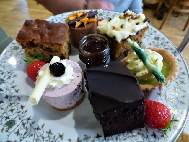 Cake selection at Afternoon tea at Tiptree Tea Rooms, Jam Factory and Museum, Essex
