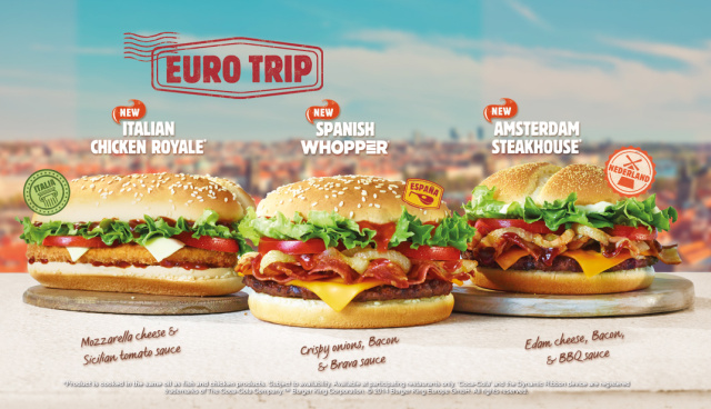 Promising A Taste Of Europe Burger King UK Is Offering Trio New Burgers Inspired By Italy Spain And Amsterdam With Their Euro Trip Menu
