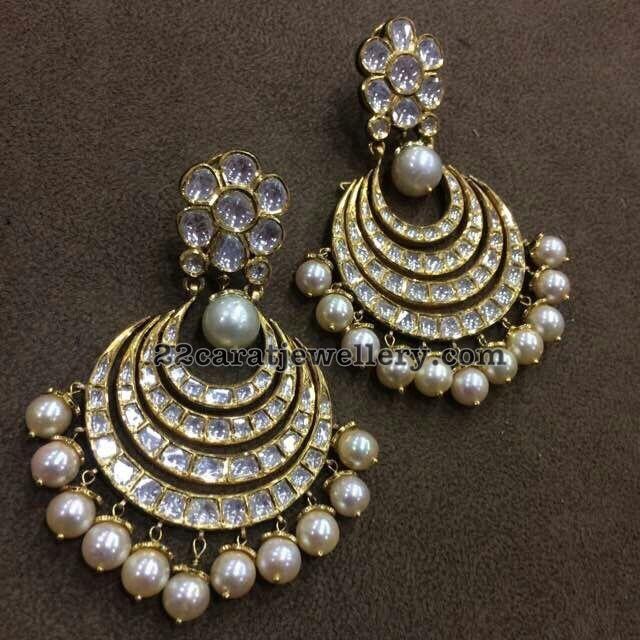 Kundan Polki Large Chandbalis Collection - Jewellery Designs