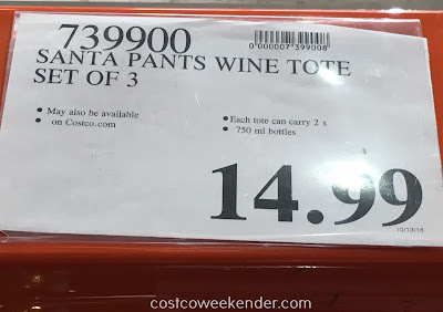 Deal for a 3 pack of Santa Pants Two Bottle Wine Tote at Costco