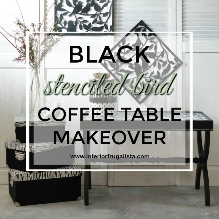 Black Stenciled Bird Coffee Table